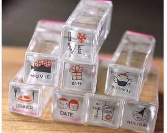 Cute DIY Crafts Crystal Rubber Couple / Lovers Stamp Set  8 Pcs/Set