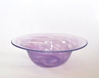 Hand Blown Glass Bowl: Pastel Purple Glass Vessel, Spring Decor, Easter Gift, Flower Vase Art by Graham Judge