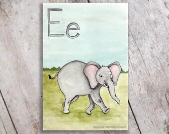 E is for Elephant Art Print Nursery Decor, Nursery Decor, Kid's Room Wall Art, Initial, Name sign