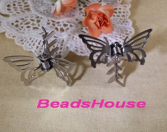 6pcs Silver Plated Butterfly Hairclip for Kids ,Nickel Free