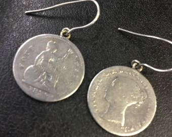 Victorian Silver Coin Earrings