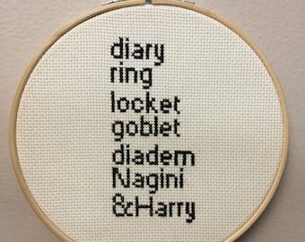 Harry Potter 7 horcruxes cross stitch