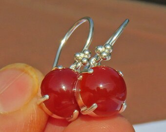 Carnelian Earrings - Carnelian Cabochon Dangle Earrings - Sterling Silver & Argentium Silver Carnelian Earrings