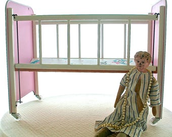 Vintage  Cass Toys Wooden Doll Crib, Wooden Baby Doll Crib, 1950s Doll Crib, Mid Century Doll Crib
