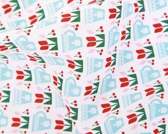 Scandinavian Nordic Style Tulips Pattern Cotton Fabric AQ81