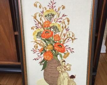 Vintage 1970s Floral Corn Husk Dolls Crewel Art Wall Hanging!