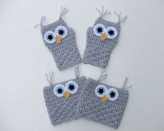 Crocheted Fingerless Owl Gloves and Boot Cuffs, Women's Fingerless Gloves and Boot Cuffs, Ready to Ship