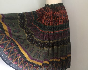RESERVED. Please do not buy. Vintage Patchouli from Nature Skirt ~ 80s India~Hippie~Boho~Gauze Skirt~One Size
