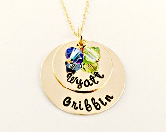 Personalized Gold Filled Mommy Mother Grandmother Nana Necklace -Custom Hand Stamped Name Jewelry -Stacked Discs Swarovski Charms -Push Gift
