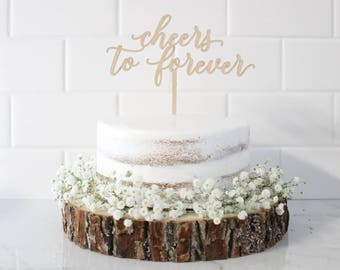 Wedding Cake Toppers, Cheers to Forever Cake Toppers, Personalized Toppers, Cake Toppers, Custom Cake Toppers, Mr and Mrs Cake Toppers, Gold