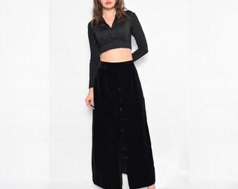Vintage 70's Velvet Button High Waist Maxi Skirt / Black Velvet Maxi Skirt - Size Large