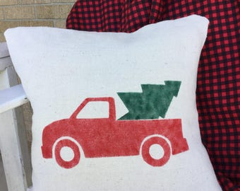 Red Farm Truck With Christmas Tree Pillow Cover