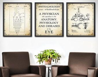 OPTHAMOLOGIST Gift - Set OF 3 - Ophthalmology Gift - Eye Chart Art - Eye Doctor Gift - Optician Gifts Decor - Wall Art - 1863