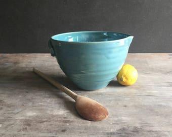 Batter Bowl, Stoneware Mixing Bowl with Pour Spout Pancake Batter Bowl Handmade Ready to Ship