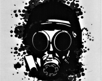 Gas Mask Soldier Black Temporary Body Fake Tattoo  5,9x8,2 inch KM99