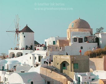 Windmill White Houses - Santorini - Wall Decor - Greek Mediterranean Fine Art Print Greece Photography