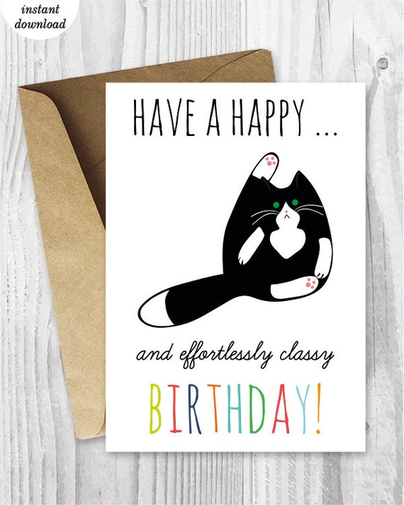 Printable Birthday Cards Funny Cat Birthday Cards Instant