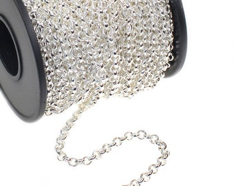 3 Meters Small Rolo Silver Plated link Chain - 3.5mm links