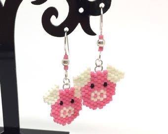 Pig - pink and white Stud Earrings - brick stitch bead weaving