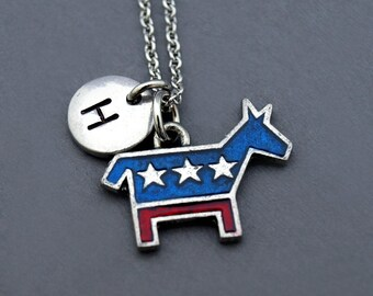 Democratic Party Donkey logo necklace, Democrat donkey, Democratic donkey logo, donkey party logo, Presidential election, monogram