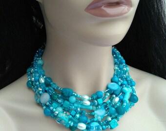 Blue chunky gemstone statement necklace multistrand summer SALE!