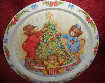Bear Tin Tray Giftco Christmas Three Baby Bears