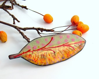 Copper Enameled Big Art Pin, Yellow Red and Pink Brooch, Original Leaf Jewelry, One of a Kind Vitreous Enamel Lapel Pin, WillOaks Studio