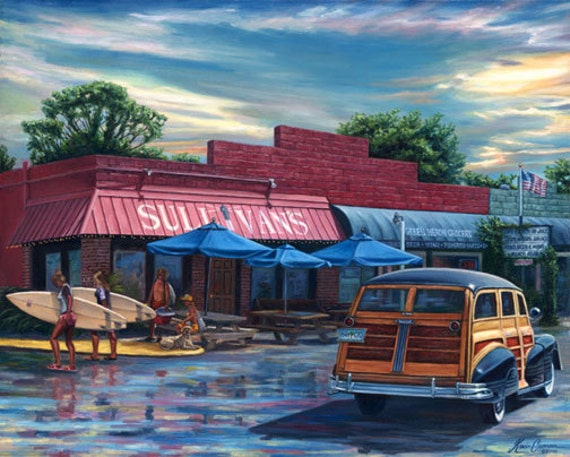 "Sullivan's Restaurant by Kevin Curran - Fine Art Print - Double Matted to 11"" x 14"" (Image Size 8"" x 10"") - Sullivan's Island SC, Woody"
