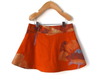 Girls Marimekko Skirt 4T - Shimmering Orange and Gold