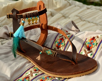 Boho Sandals, Sandal Women, Hippie Sandals, Women Sandals, Women Leather Sandals, Gladiator Sandals, Greece Sandals, Beaded Sandals