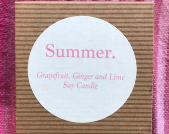 Summer - Grapefruit, Ginger and Lime Soy Candle
