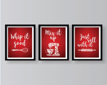 Spring Sale Red White Set Of 3 Kitchen Prints   Red Kitchen Decor   Red  Kitchen Ideas