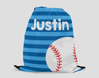 Baseball Drawstring Backpack - Blue Stripes with Baseball - Personalized Bag - Sports Bag
