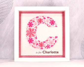 C is for, personalised initial picture, monogram wall art, child's initial frame, name art, baby gift, initial letter art, alphabet