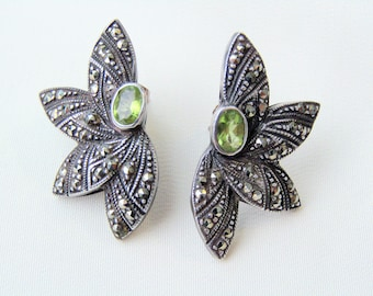 Vintage Sterling Silver Peridot Marcasites Earrings