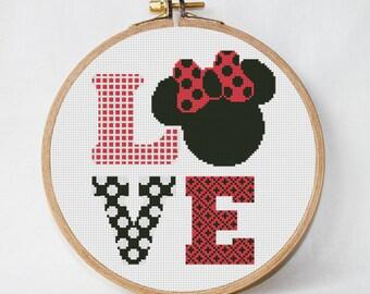 disney cross stitch pattern Love, PDF Pattern Threads, funny cross stitch pattern pdf, Minnie Mouse instant download
