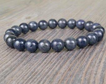 Iolite gemstone bracelet dark blue (water sapphire) Grade AA 8mm