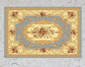Dollhouse Miniature Rug  Sky Blue and Pale Yellow Aubusson in Several Sizes