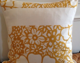 Yellow Flower Pillow Cover 20 x 20 Floral Pillow Cover Marigold Pillow Cover Yellow Floral Pillow Cover Yellow White Pillow Cover