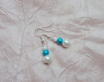 Bridal earrings, wedding, white (or ivory) glass pearls and turquoise 925 sterling silver