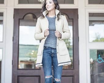 Cotton Car Coat w/Back Bow/Fall Coat/ Women's Coat/ Women's Pea Coat