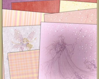 Fairies Digital Papers - INSTANT DOWNLOAD - Fantasy Fairy Fairies Pink Purple Yellow Girls