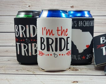 charleston bride tribe can coolers / bachelorette party can coolers / bride tribe / bachelorette party favors / charleston sc bach