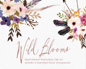 Hand Painted Watercolour Clip Art-Wild Blooms/ Individual Floral Arrangements/Png Files