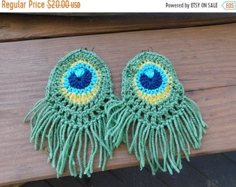 Mother's Day Gift Crochet Peacock Earrings. Handmade Dangle Yarn Feather Boho Gypsy Festival Earrings
