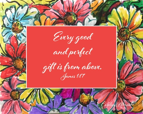 Every Good and Perfect Gift is from Above | Zinnia Painting Art Prints and Note Cards | James 1:17  | Carolyn Altman Art