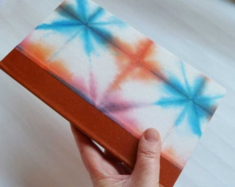SALE + Free Shipping -- Handbound Journal with blue and orange shibori cover and leather spine