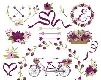 Bicycle Clip Art | Wedding Bicycle Graphics | Spring Flower Bicycle | Wreath Clip Art | Ribbon Clip Art | Digital Laurels
