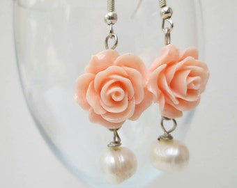 Pink Rose Earrings, Pearl Earrings, Fresh Water Pearls, Rose Earrings, Rose Jewelry, Bridal Jewelry, Gift For her