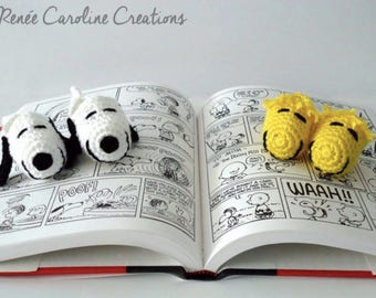 Snoopy and/or Woodstock Crochet Baby Booties
